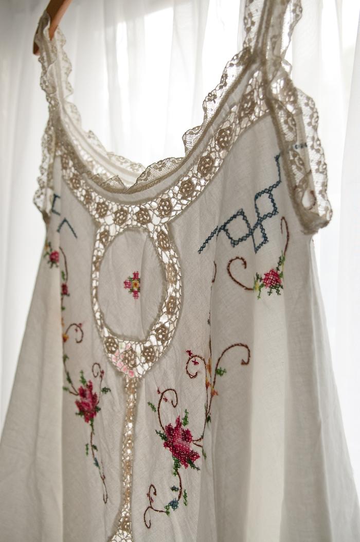 embroidered cross stitch crochet tank dress