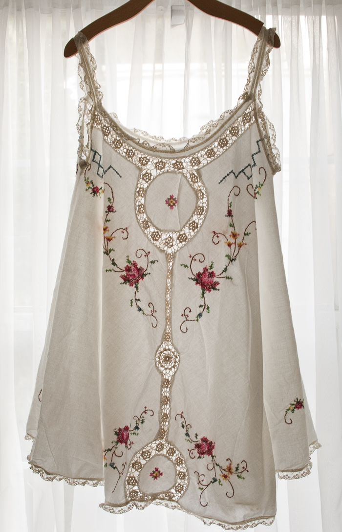 embroidered crochet tank dress