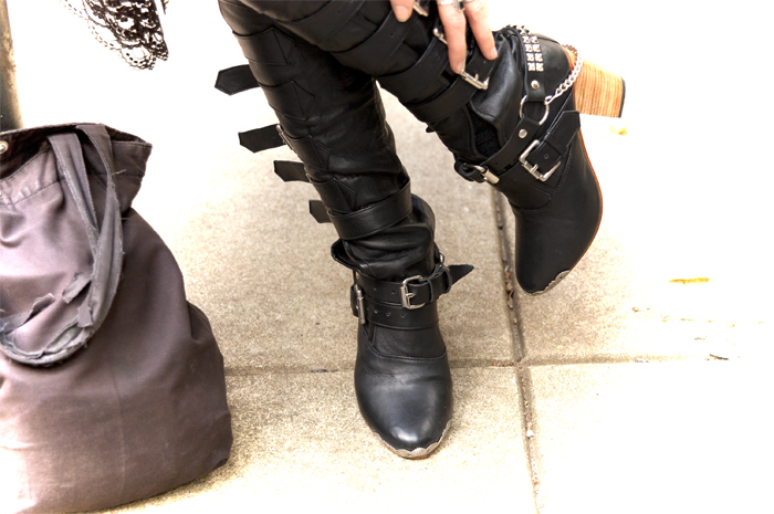 kate carnegie scissorhand boots with bootstraps