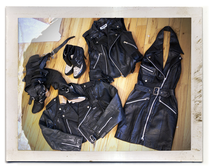 leather moto jacket, leather moto vest, leather moto dress, jeffrey campbell creepers whip, kate carneie scissorhand boots